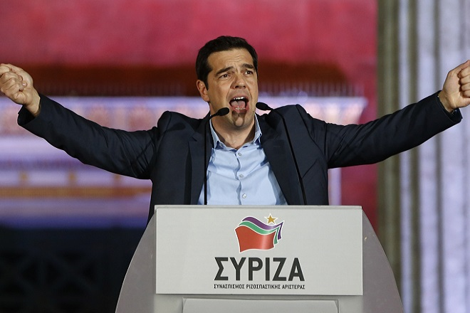 "The head of radical leftist Syriza party Alexis Tsipras speaks to supporters after winning the elections in Athens January 25, 2015. Tsipras promised on Sunday that five years of austerity, ""humiliation and suffering"" imposed by international creditors were over after his Syriza party swept to victory in a snap election on Sunday.      REUTERS/Marko Djurica    (GREECE - Tags: POLITICS ELECTIONS) - RTR4MUZZ"