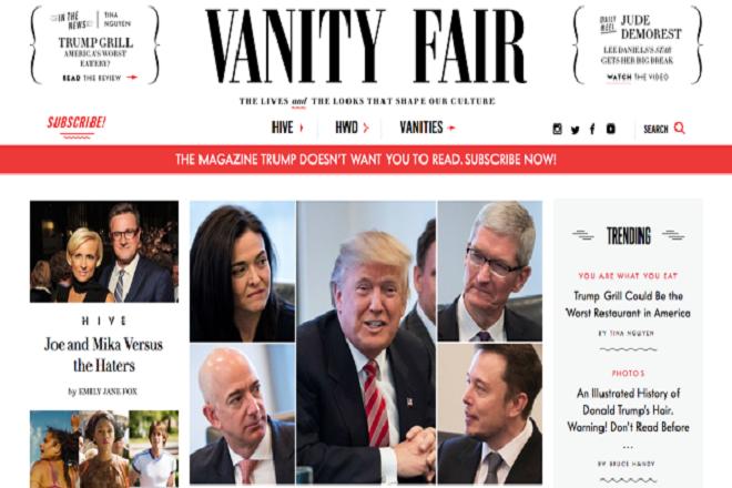 Ρεκόρ συνδρομών για το Vanity Fair από ένα…tweet του Τραμπ!