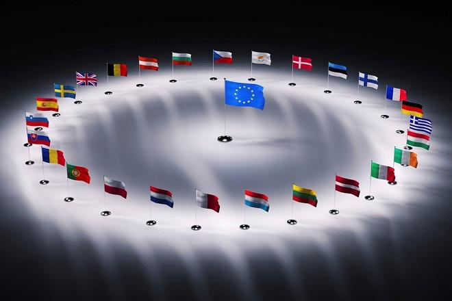 twenty seven european union flags 3d render
