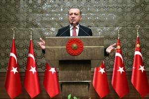 epa05712887 A handout photo made available by Turkish President Press office shows, Turkish President Recep Tayyip Erdogan (C) speaking during the 33rd mukhtars meeting in Ankara , Turkey, 12 January 2017.  EPA/TURKISH PRESIDENT PRESS OFFICE HANDOUT  HANDOUT EDITORIAL USE ONLY/NO SALES
