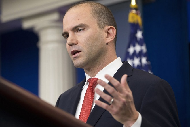 """FILE - In this Feb. 16, 2016 file photo Deputy National Security Adviser For Strategic Communications Ben Rhodes speaks in the Brady Press Briefing Room of the White House in Washington. The White House is working to contain the damage caused by a magazine profile of one of President Barack Obama's top aides. In a blog post published late Sunday, May 8, 2016, Rhodes said the public relations campaign he created to sell the Iran nuclear deal was intended only """"to push out facts."""" Rhodes says outside groups that participated """"believed in the merits of the deal.""""  (AP Photo/Pablo Martinez Monsivais, File)"""