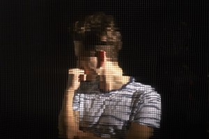 digitalized, pixels, reflection, young man, abstract reflection