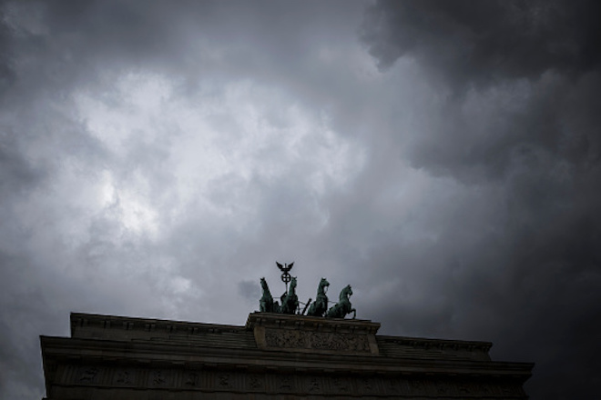 Dark clouds over the Brandenburg Gate in Berlin, Germany