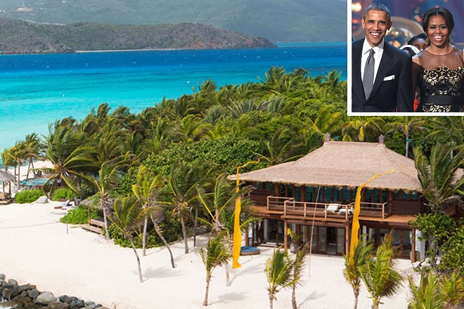 """Heres's Richard Branson's stunning Necker Island which is hosting ultimate VIP guests, former President Barack and Michelle Obama, for a relaxing getaway. The breathtaking Caribbean resort was rebuilt and reopened in 2013 after being devastated by a fire sparked by a lighting strike in 2011. Seen in these photos, the idyllic eight-bedroom hideaway was freshly remodeled and ready for visitors at a mere $60,000 per night. Branson described the newly built British Virgin Islands retreat as being """"like the old house on steroids"""". The Obamas jetted into nearby Tortola from Palm Springs, California, on Monday evening (jan 23) and then boarded a boat to the remote island.  Pictured: General View of Necker Island Ref: SPL1428195  240117   Picture by: Splash News  Splash News and Pictures Los Angeles:310-821-2666 New York:212-619-2666 London:870-934-2666 photodesk@splashnews.com    Splash News and Picture Agency does not claim any Copyright or License in the attached material. Any downloading fees charged by Splash are for Splash's services only, and do not, nor are they intended to, convey to the user any Copyright or License in the material. By publishing this material , the user expressly agrees to indemnify and to hold Splash harmless from any claims, demands, or causes of action arising out of or connected in any way with user's publication of the material."""