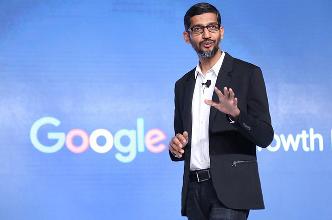 epa05697120 Google Chief Executive Officer (CEO), Sundar Pichai speaks during an event organized by Google India in New Delhi, India, 04 January 2017. According to a press release, in presence of Google CEO Sundar Pichai, Google India announced the launch of Digital Unlocked, training program to empower thousands of Indian Small and Medium Businesses (SMBs) with essential digital skills that will enable them to get online and start using the power of the internet to grow their business.  EPA/RAJAT GUPTA