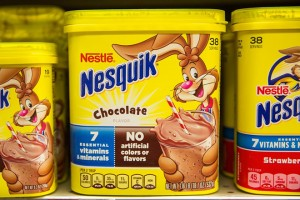 NEW YORK, NY - FEBRUARY 18:  Nestle Nesquik is sold on a store's shelves on February 18, 2016 in New York City. Nestle recently reported the slowest sales in six years.  (Photo by Andrew Burton/Getty Images)