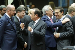 epa05676654 (L-R) Belgium Prime Minister Charles Michel listens to French President Francois Hollande while EU Commission President Jean-Claude Juncker jokes with Greek Prime Minister Alexis Tsipras prior to the start of an European Summit in Brussels, Belgium, 15 December 2016. EU leaders meet for a one-day summit which will mainly focus on the implementation of the EU-Turkey agreement on migration and the EU Internal Security Strategy. The 27 leaders are later the same day scheduled to meet informally for a dinner to discuss the Brexit process.  EPA/OLIVIER HOSLET