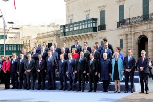 epa05768408 Participants pose for the family photo during an informal summit meeting of EU leaders in Valletta, Malta, 03 February 2017. The European Union (EU) leaders will address the migration situation, focusing on the Central Mediterranean route and Libya, and discuss the future of the EU after Brexit.  EPA/DOMENIC AQUILINA