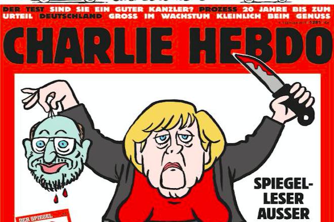 Προκλητικό εξώφυλλο του Charlie Hebdo: Η Μέρκελ αποκεφαλίζει τον Σουλτς