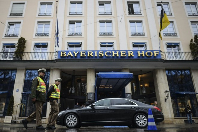epa05799118 Police patrols in front of the 'Bayerischer Hof' hotel, the venue of the 53rd Munich Security Conference (MSC), in Munich, Germany, 17 February 2017. In their annual meeting, politicians, various experts and guests from around the world discuss issues surrounding global security from 17 to 19 February 2017.  EPA/PHILIPP GUELLAND