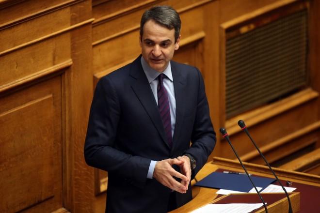 Ο πρόεδρος της ΝΔ Κυριάκος Μητσοτάκης μιλάει από το βήμα, στην ολομέλεια του κοινοβουλίου κατά τη συζήτηση, στην ώρα του πρωθυπουργού, στη Βουλή, Αθήνα, Παρασκευή 17 Φεβρουαρίου 2017. ΑΠΕ-ΜΠΕ/ΑΠΕ-ΜΠΕ/ΟΡΕΣΤΗΣ ΠΑΝΑΓΙΩΤΟΥ