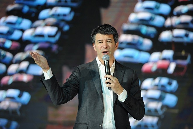 BEIJING, CHINA - JUNE 28:  Uber CEO Travis Kalanick delivers a speech at the Third Netease Future Technology Conference on June 28, 2016 in Beijing, China. Concentrated around the theme of ¡°Force Sense,¡± the Third Netease Future Technology Conference invites entrepreneurs, scientists, writers, and celebrities to explore future tech and sets areas to experience virtual reality, augmented reality, artificial intelligence, and smart cars.  (Photo by Wang K'aichicn/VCG/VCG via Getty Images)