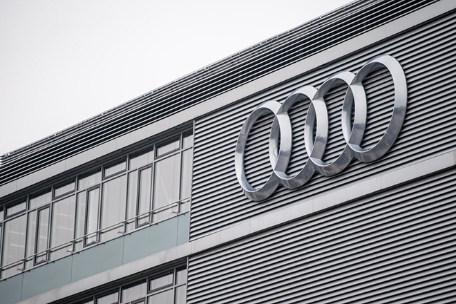 epa05849184 The Audi AG logo sign is seen ahead of the balance sheet press conference at the company's headquarters in Ingolstadt, Germany, 15 March 2017.  EPA/CHRISTIAN BRUNA