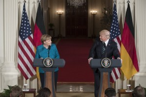 epa05854981 US President Donald J. Trump (R) and Chancellor of Germany Angela Merkel (L) hold a joint press conference in the East Room of the White House in Washington, DC, USA, 17 March 2017. Merkel and Trump meet at the White House for their first face-to-face meeting with an agenda of discussing transatlantic trade and security issues among two of the world's leading economies.  EPA/MICHAEL REYNOLDS