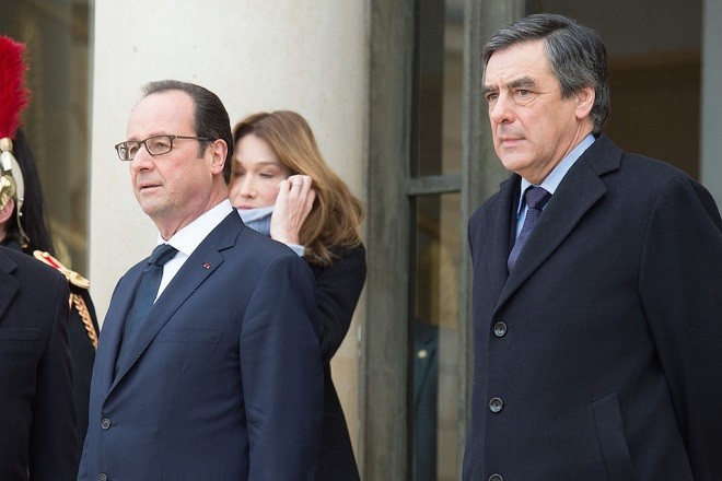 French President Francois Hollande  welcomes former French President Nicolas Sarkozy, his wife Carla Bruni  and Francois Fillon at the Elysee Palace before attending a Unity rally in tribute to the 17 victims of a three-day killing spree by homegrown Islamists on January 11, 2015 in Paris, France. A mass unity rally to be held in Paris following the recent terrorist attacks on January 11, 2015 in Paris, France. An estimated one million people are expected to converge in central Paris for the Unity March joining in solidarity with the 17 victims of this week's terrorist attacks in the country. French President Francois Hollande will lead the march and will be joined by world leaders in a sign of unity. The terrorist atrocities started on Wednesday with the attack on the French satirical magazine Charlie Hebdo, killing 12, and ended on Friday with sieges at a printing company in Dammartin en Goele and a Kosher supermarket in Paris with four hostages and three suspects being killed. A fourth suspect, Hayat Boumeddiene, 26, escaped and is wanted in connection with the murder of a policewoman./VILLARD_villard172175/Credit:VILLARD/SIPA/1501111814