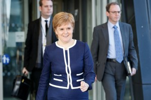 epa05873921 Scotland's First Minister and Scottish National Party leader Nicola Sturgeon (C) leaves the Crowne Plaza Hotel in Glasgow after talks with British Prime Minister Theresa May in Glasgow, Scotland, 27 March 2017. Reports state that May arrived in Glasgow in a bid to avert Scotland's latest independence intentions.  EPA/ROBERT PERRY