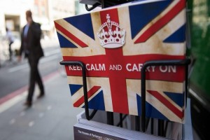 "TOPSHOT - Postcards featuring the World War II British slogan ""Keep Calm and Carry On"" are seen outside a newsagents in London, on 24 June, 2016.  Britain voted to break away from the European Union on June 24, toppling Prime Minister David Cameron and dealing a thunderous blow to the 60-year-old bloc that sent world markets plunging. / AFP / LEON NEAL        (Photo credit should read LEON NEAL/AFP/Getty Images)"