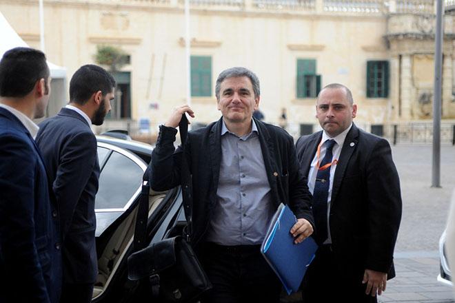 Ο υπουργός Οικονομικών Ευκλείδης Τσακαλώτος προσέρχεται στην Συνεδρίαση του Eurogroup που γίνεται στη Βαλέττα, Παρασκευή 7 Απριλίου 2017. ΑΠΕ-ΜΠΕ/European Union/STR