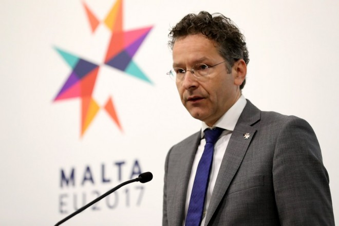 epa05894209 Jeroen Dijsselbloem, The Netherlands' Minister of Finance speaks during a Eurogroup press conference at the Informal Meeting of Economic and Financial Affairs Ministers (ECOFIN) at the Grandmaster's Palace in Valletta, Malta, 07 April 2017. The informal meeting of EU Finance Ministers, taking place every six months according to the rotating Presidency of the EU Council, runs from 07 to 08 April. Malta took over the EU Presidency on 01 January 2017.  EPA/DOMENIC AQUILINA