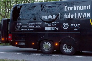 epa05903404 A view on the damaged Borussia Dortmund's team bus after it was hit by three explosions in Dortmund, Germany, 11 April 2017. According to reports, Borussia Dortmund's team bus was damaged by three explosions on 11 April, as it was on its way to the stadium ahead of the UEFA Champions League soccer match between Borussia Dortmund and AS Monaco. Borussia Dortmund's player Marc Bartra was injured and is hospitalized. The match has been postponed.  EPA/STR