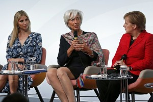 epa05926772 German Chancellor Angela Merkel (R) and US President Trump's assistant and daughter Ivanka Trump (L) listen to the Managing Director of the International Monetary Fund (IMF), Christine Lagarde (C) during a panel discussion 'Inspiring women: Scaling Up Women's Entrepreneurship' at the W20 Summit in Berlin, Germany, 25 April 2017. The W20 promotes women's economic empowerment as an integral part of the G20 process. Using digital tools and expert meetings, the experiences of women's civil society organizations and entrepreneur associations try to implement the G20 negotiations.  EPA/FELIPE TRUEBA