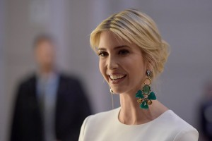 epa05927560 US President Trump's assistant and daughter Ivanka Trump wearing large earrings arrives at a Gala Dinner at Deutsche Bank within the framework of the W20 summit in Berlin, Germany, 25 April 2017. Women in leading positions attend the W20 conference on empowerment for women on 25 and 26 April in Berlin.  EPA/CLEMENS BILAN / POOL