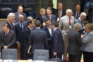 epa05934748 Greek Prime Minister Alexis Tsipras (C) speaks with Luxembourg's Prime Minister Xavier Bettel (C-R) and Cypriot President Nicos Anastasiades (C-L) among other heads of state at the start  of a special European summit in Brussels, Belgium, 29 April 2017. The special European Council meeting of the 27 remaining member countries is expected to discuss and adopt the guidelines for the negotiations with the United Kingdom following their so-called 'Brexit' referendum and triggering the Article 50 in March to leave the European Union.  EPA/VIRGINIA MAYO / POOL