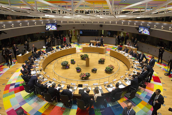 epa05934770 A general view prior to the start of a special European summit in Brussels, Belgium, 29 April 2017. The special European Council meeting of the 27 remaining member countries is expected to discuss and adopt the guidelines for the negotiations with the United Kingdom following their so-called 'Brexit' referendum and triggering the Article 50 in March to leave the European Union.  EPA/VIRGINIA MAYO / POOL
