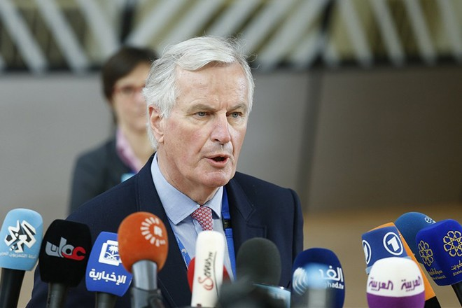 epa05934699 Michel Barnier, the European Chief Negotiator of the Task Force for the Preparation and Conduct of the Negotiations with the United Kingdom under Article 50, speaks to the media as he arrives for the special European summit in Brussels, Belgium, 29 April 2017. The special European Council meeting of the 27 remaining member countries is expected to discuss and adopt the guidelines for the negotiations with the United Kingdom following their so-called 'Brexit' referendum and triggering the Article 50 in March to leave the European Union.  EPA/JULIEN WARNAND