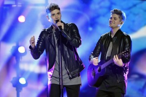 epa05294653 Britain's Joe (L) and Jake perform the song 'You're Not Alone' during a rehearsal for the 61st annual Eurovision Song Contest (ESC) at the Ericsson Globe in Stockholm, Sweden, 08 May 2016. The ESC consists of two semi-finals, to be held on 10 and 12 May, and a grand final that will take place at the Ericsson Globe on 14 May.  EPA/JONAS EKSTROMER SWEDEN OUT