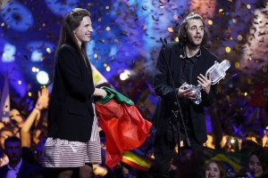epa05962544 Salvador Sobral (R) from Portugal celebrates with his sister after he won the Grand Final of the 62nd annual Eurovision Song Contest (ESC) at the International Exhibition Centre in Kiev, Ukraine, 13 May 2017.  EPA/SERGEY DOLZHENKO