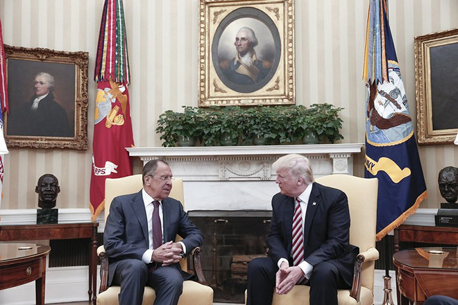 epa05967424 (FILE) - A file handout photo made available by the Russian Foreign Ministry shows US President Donald J. Trump (R) speaking with Russian Foreign Minister Sergei Lavrov (L) during their meeting in the White House in Washington, DC, USA, 10 May 2017 . Media reports on 15 May 2017 state that National Security Advisor Lieutenant General H.R. McMaster said a Washington Post report that claims US President Donald J. Trump disclosed classified information to Russian officials was false.  EPA/RUSSIAN FOREIGN MINISTRY HANDOUT MANDATORY CREDIT HANDOUT EDITORIAL USE ONLY/NO SALES