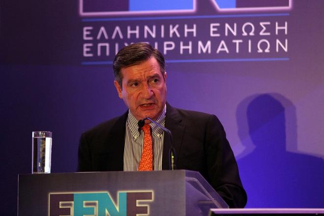 Ο δήμαρχος Αθηναίων Γιώργος Καμίνης  μιλάει στην 4η Ετήσια Διάσκεψη της Ελληνικής Ένωσης Επιχειρηματιών σε κεντρικό ξενοδοχείο των Αθηνών, Δευτέρα 22 Μαΐου 2017. ΑΠΕ-ΜΠΕ/ΑΠΕ-ΜΠΕ/Αλέξανδρος Μπελτές