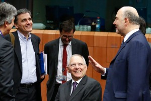 epa05154461 Greek Finance Minister Euclid Tsakalotos (L), German Finance Minister Wolfgang Schaeuble (C) and European Commissioner for Economic and Financial Affairs Pierre Moscovici (R), during a Eurogroup Finance ministers meeting at the European Council headquarters in Brussels, Belgium, 11 February 2016. The Eurogroup meeting's agenda is reported to be topped by the Portuguese draft budget, the Greek programme and general economic issues in the eurozone.  EPA/LAURENT DUBRULE