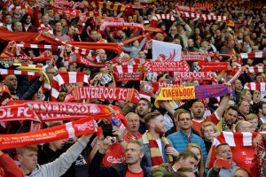 epa05291028 Liverpool fans cheer prior to the UEFA Europa League semi final second leg soccer match between Liverpool FC vs FC Villarreal at Anfield in Liverpool, Britain, 05 May 2016.  EPA/PETER POWELL