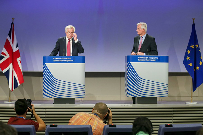 epa06037866 British Secretary of State for Exiting the European Union David Davis (L) and Michel Barnier (R), the EU Chief Negotiator of the Task Force for the Preparation and Conduct of the Negotiations with the United Kingdom under Article 50, dubbed the 'Brexit' give a press conference at the end of a meeting at EU Commission in Brussels, Belgium, 19 June 2017. The first stage of the negotiations concerned the fate of European expatriates in the UK and Britons settled in Europe, the question of the Irish border and the 'financial regulation' between the UK and Europe. Negotiators agreed on dates, organisation and on priorities to achieve best possible outcome from Brexit talks.  EPA/STEPHANIE LECOCQ