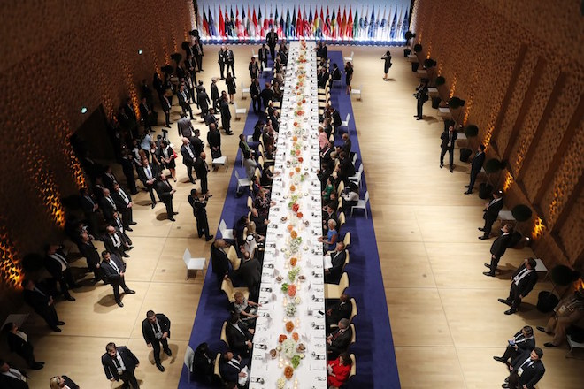 epa06074319 The leaders of the G20 Summit attend a state banquet in the Elbphilarmonie concert Hall during the G20 Summit in Hamburg, Germany, 07 July 2017. The G20 Summit (or G-20 or Group of Twenty) is an international forum for governments from 20 major economies. The summit is taking place in Hamburg 07 to 08 July 2017.  EPA/FELIPE TRUEBA / POOL