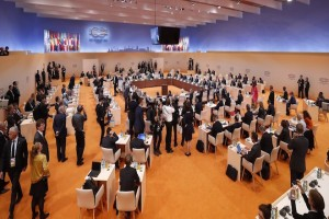 epa06075147 A general view prior to a plenary session on the second day of the G20 summit in Hamburg, Germany, 08 July 2017. The G20 Summit (or G-20 or Group of Twenty) is an international forum for governments from 20 major economies. The summit is taking place in Hamburg 07 to 08 July 2017.  EPA/FELIPE TRUEBA