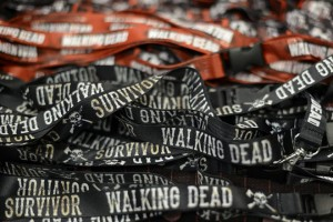 epa03933957 Lanyards for sale during the Walker Stalker Con in Atlanta, Georgia, USA, 02 November 2013. The convention was started for fans of the television show 'The Walking Dead' and other zombies.  EPA/ERIK S. LESSER