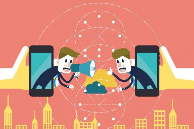 Two businessmen communicate on mobile cloud.