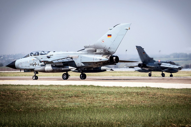 epa06014462 (FILE) - A handout photo provided by the German Armed Forces (Bundeswehr) on 18 May 2017 shows German Air Force (Luftwaffe) 'Tornado' jets taxiing to the runway of the air base in Incirlik, Turkey, during the mission 'Counter DAESH', 28 June 2016 (reissued 07 June 2017). The German cabinet on 07 June 2017 agreed to pull out the German Bundeswehr troops from Incirlik.  The move comes shortly after German FM Gabriel's visit to Ankara in which no agreement with Turkley was found on the access for German MPs to visit Turkey's Incirlik air base where German Bundeswehr soldiers are deployed within the scope of anti-IS missions.  EPA/THORSTEN WEBER / HANDOUT  HANDOUT EDITORIAL USE ONLY/NO SALES
