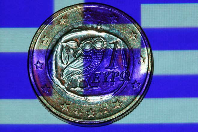 epa03316193 An illustration showing a Greek flag projected onto a Greek one euro coin in Schwerin, Schwerin, Germany, 24 July 2012. International creditors will on 24  review Greece's troubled austerity programme at a time of renewed concern about the country's future in the eurozone. The new conservative-led coalition government is scrambling to come up with 2.5 billion euros (3 billion dollars) more in savings to meet the target of 11.5 billion euros set by the European Union and the International Monetary Fund (IMF) for 2013 and 2014. Among the measures recommended by the Center of Planning and Economic Research (KEPE) pension cuts worth an estimated total of 5.1 billion euros.  EPA/JENS BUETTNER