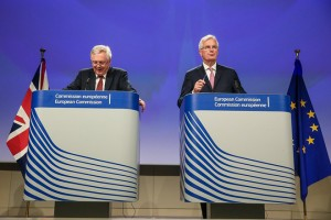 epa06098364 The United Kingdom's Secretary of State for Exiting the European Union, David Davis (L), and Michel Barnier (R), the European Chief Negotiator of the Task Force for the Preparation and Conduct of the Negotiations with the United Kingdom under Article 50,  speak at a joint news conference at the end of the second roundof 'Brexit' talks at the EU Commission, in Brussels, Belgium, 20 July 2017. Media reports state that the rights of EU citizens in Britain and financial issues have been the main topics on the agenda of their meeting.  EPA/STEPHANIE LECOCQ