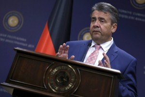 epa06011728 German Foreign Minister Sigmar Gabriel speaks during a press conference with Turkish Foreign Minister Mevlut Cavusoglu (not seen) in Ankara, Turkey, 05 June 2017.  Gabriel is in Ankara for bilateral talks expected to focus on the access for German MPs to visit Turkey's Incirlik air base where German Bundeswehr soldiers are deployed within the scope of anti-IS missions.  EPA/TUMAY BERKIN
