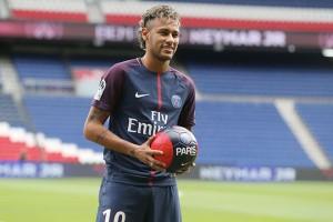 PARIS, FRANCE - AUGUST 04:  Neymar of Paris Saint-Germain (PSG) pose during his presentation to the press at Parc des Princes on August 4, 2017 in Paris, France.  (Photo by Xavier Laine/Getty Images)