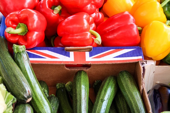 View on British vegetables presented for sale at a market.