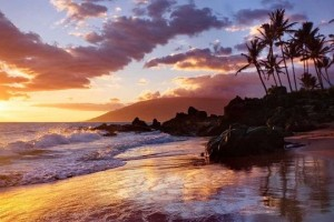 Sunset on beach, Maui, Hawaii, US.