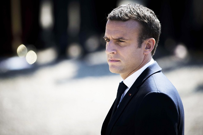 French President Emmanuel Macron (C) attends at a ceremony to mark the 77th anniversary of General Charles de Gaulle's appeal of 18 June 1940, at the Mont Valerien memorial. The appeal marks the beginning of the French resistance after the fall of France to Nazi Germany. Suresnes, near Paris, France - 18/06/2017 (Sipa via AP Images)