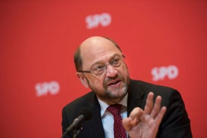 BERLIN, GERMANY - APRIL 10: Martin Schulz, chancellor candidate of the German Social Democrats (SPD) speaks to Foreign Journalists' Association on April 10, 2017 in Berlin, Germany. The SPD has seen a strong upswing in popularity and membership since Schulz, former President of the European Parliament, was chosen as the SPD chancellor candidate for German federal elections slated for September. (Photo by Steffi Loos/Getty Images)