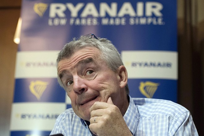 epa06120995 CEO of Irish discount airline company Ryanair, Michael O'Leary attends a press conference in London, Britain, 02 August 2017. During the press conference Mr O'Leary outlined the company's financial results and also highlighted the effects on the company of the United Kingdom's planned exit from the European Union.  EPA/WILL OLIVER